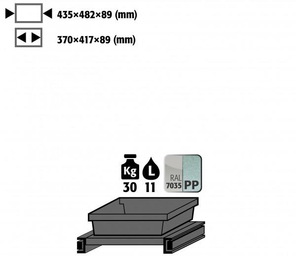 Tablarauszug AbZ mit PP-Wanne (Volumen: 11,00 Liter) für Modell(e): CS mit Breite 545 mm, Stahlblech/Polypropylen pulverbeschichtet/roh