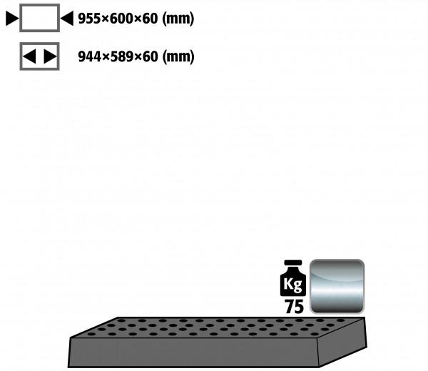 Lochblecheinsatz Standard für Modell(e): UB90 mit Breite 1100 mm, Edelstahl 1.4301 roh