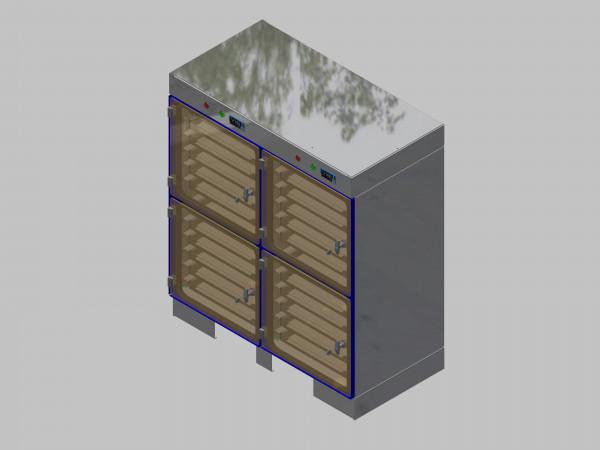 Trockenlagerschrank-ITN-1200-4 mit 6 Schubladen und Regelung der Schrankatmosphäre pro Vertikalkompartiment und Sockelausführung unterfahrbar mit Stellfüssen