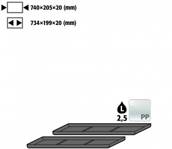 Einlegewanne für 2. Auszugs-Ebene (VE 1, empf. Ausstattung 2 Stück) (Volumen: 2,50 Liter) für Modell(e): UB90, UB30 mit Breite 890/1400 mm, Polyethylen roh