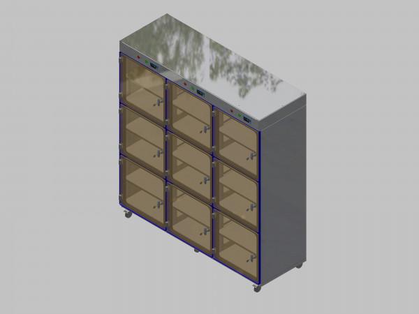 Trockenlagerschrank-ITN-1800-9 mit 2 Tablaren und Regelung der Schrankatmosphäre pro Vertikalkompartiment und Sockelausführung mit Rollen