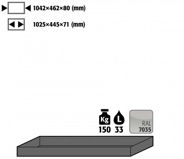 Wannenboden Standard (Volumen: 33,00 Liter) für Modell(e): Q90, S90 mit Breite 1200 mm, Stahlblech pulverbeschichtet glatt