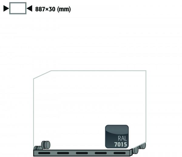Rollen mit Sockelblende Höhe = 30 mm für Modell(e): UB90 mit Breite 890 mm, Stahlblech pulverbeschichtet glatt