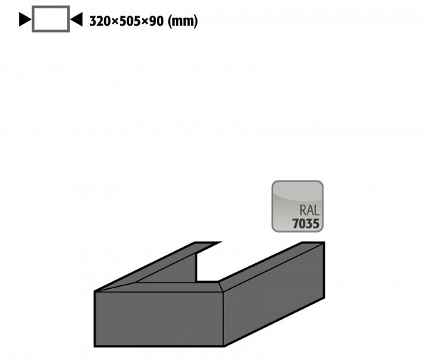 Adapter für Umluftfilteraufsatz UFA, Höhe = 90 mm, Stahlblech lackiert