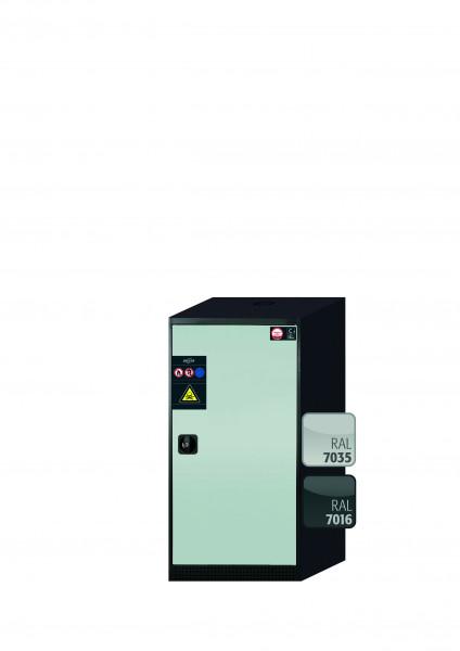 Chemikalienschrank CS-CLASSIC Modell CS.110.054.R in lichtgrau RAL 7035 mit 2x Tablarauszug AbZ (Stahlblech/Polypropylen)