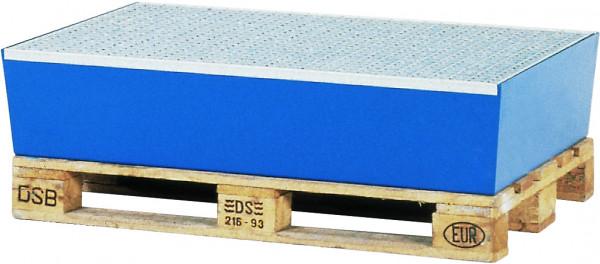 Auffangwanne Stahl mit verzinktem Gitterrost 815x1235x255, Stahl pulverbeschichtet glatt