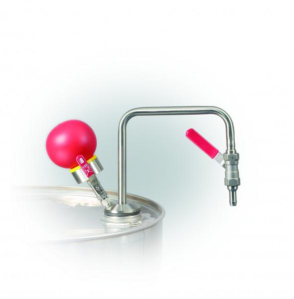 Handpumpe aus Edelstahl für Lösemittel für Behälter bis 60 Liter, Edelstahl 1.4301