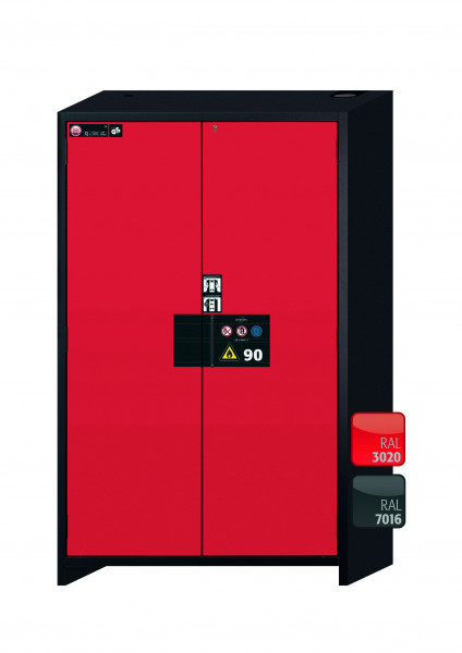 Typ 90 Sicherheitsschrank Q-PEGASUS-90 Modell Q90.195.120.WDAC in verkehrsrot RAL 3020 mit 3x Auszugswanne Standard (Edelstahl 1.4301)