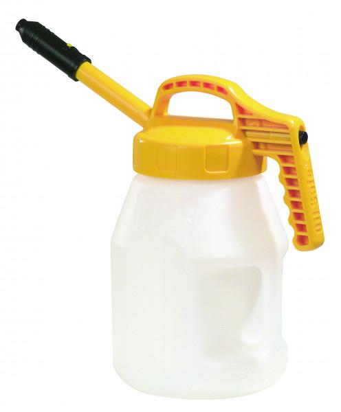 Öl-Kanne aus HDPE 5 Liter mit gelbem Deckel und langer Auslauftülle, Polyethylen (high density)