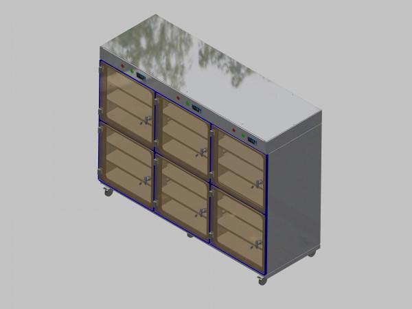Trockenlagerschrank-ITN-1800-6 mit 3 Tablaren und Regelung der Schrankatmosphäre pro Vertikalkompartiment und Sockelausführung mit Rollen