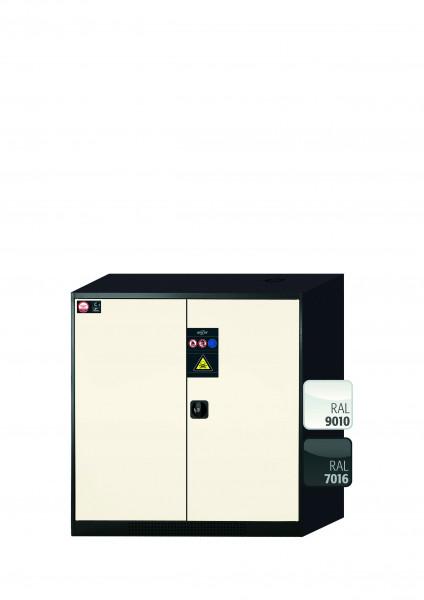 Chemikalienschrank CS-CLASSIC Modell CS.110.105 in reinweiss RAL 9010 mit 3x Tablarauszug AbZ (Stahlblech/Polypropylen)