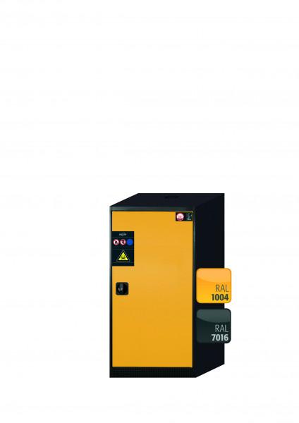 Chemikalienschrank CS-CLASSIC Modell CS.110.054.R in sicherheitsgelb RAL 1004 mit 2x Tablarauszug AbZ (Stahlblech/Polypropylen)