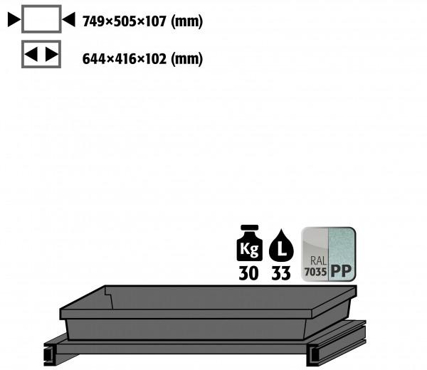 Tablarauszug AbZ mit PP-Wanne (Volumen: 22,00 Liter) für Modell(e): CS mit Breite 810 mm, Stahlblech/Polypropylen pulverbeschichtet/roh