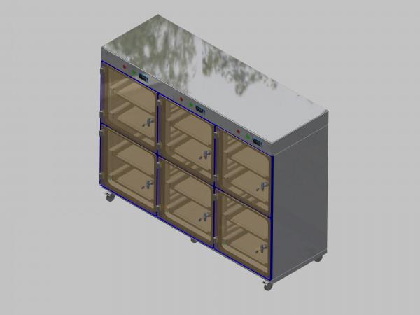 Trockenlagerschrank-ITN-1800-6 mit 2 Schubladen und Regelung der Schrankatmosphäre pro Vertikalkompartiment und Sockelausführung mit Rollen