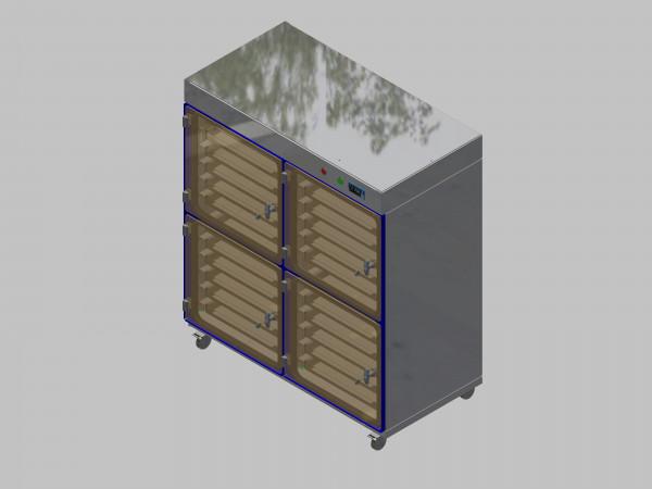 Trockenlagerschrank-ITN-1200-4 mit 6 Schubladen und Regelung der Schrankatmosphäre pro Schrank und Sockelausführung mit Rollen