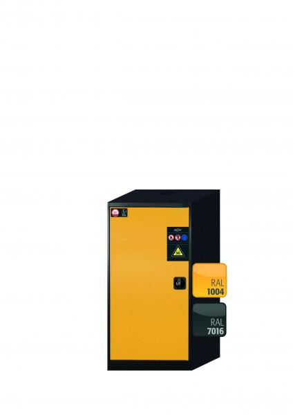 Chemikalienschrank CS-CLASSIC Modell CS.110.054 in sicherheitsgelb RAL 1004 mit 3x Tablarauszug AbZ (Stahlblech/Polypropylen)