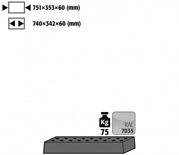 Lochblecheinsatz Standard für Modell(e): UB90 mit Breite 890/1400 T=500 mm, Stahlblech pulverbeschichtet glatt