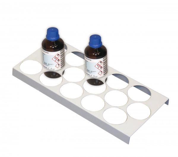 Flaschengestell für 15 Flaschen mit Ø 70 mm für Modell(e): UB90, UB30 mit Breite 590, 1100 u.1400 mm, Stahlblech pulverbeschichtet glatt