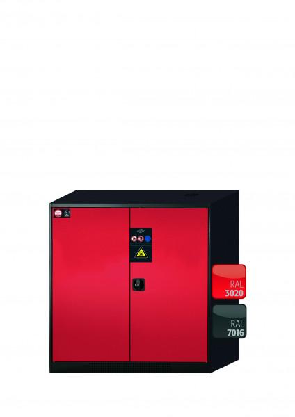 Chemikalienschrank CS-CLASSIC Modell CS.110.105 in verkehrsrot RAL 3020 mit 3x Tablarauszug AbZ (Stahlblech/Polypropylen)