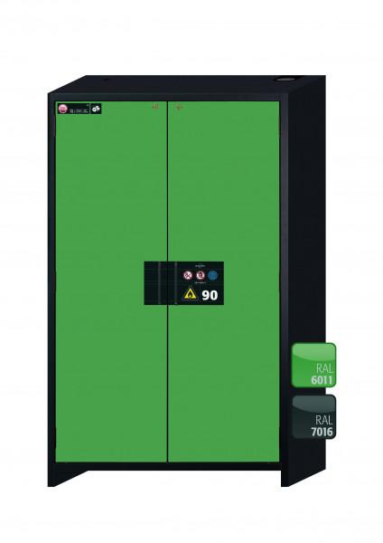 Typ 90 Sicherheitsschrank Q-CLASSIC-90 Modell Q90.195.120 in resedagrün RAL 6011 mit 3x Auszugswanne Standard (Stahlblech)