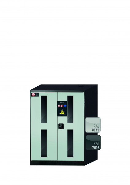 Chemikalienschrank CS-CLASSIC-G Modell CS.110.081.WDFW in lichtgrau RAL 7035 mit 2x Tablarauszug AbZ (Stahlblech/Polypropylen)