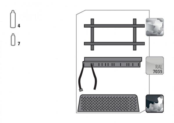 Standardinneneinrichtung Druckgasflaschen für Modell(e): G30 mit Breite 1200 mm, Stahlblech verzinkt und pulverbeschichtet