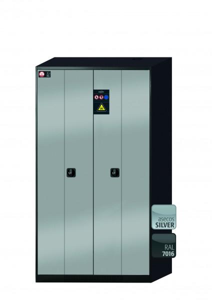 Chemikalienschrank CS-PHOENIX Modell CS.195.105.FD in asecos Silber mit 5x Tablarauszug AbZ (Stahlblech/Polypropylen)