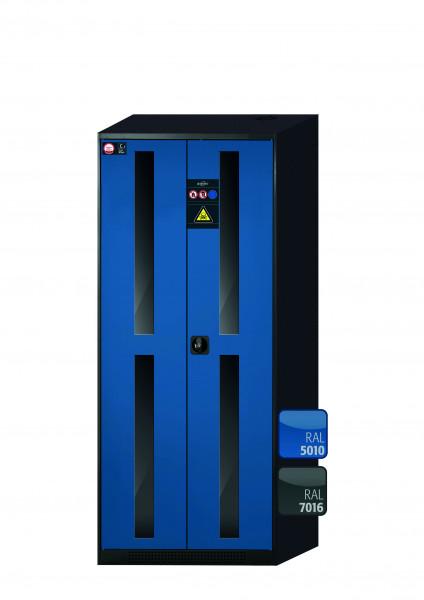Chemikalienschrank CS-CLASSIC-G Modell CS.195.081.WDFW in enzianblau RAL 5010 mit 5x Tablarauszug AbZ (Stahlblech/Polypropylen)