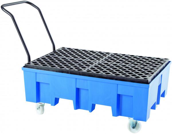 Auffangwanne fahrbar PE-HD mit PE-Gitterrost 865x1245x1060, Polyethylen (high density)