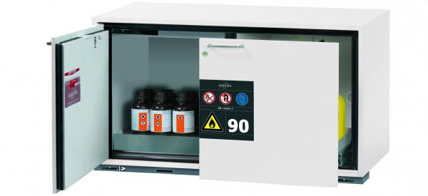 Typ 90 Sicherheitsunterbauschrank UB-ST-90 Modell UB90.060.110.ST in laborweiss (ähnl. RAL 9016) mit 1x Lochblecheinsatz Standard (Edelstahl 1.4016)