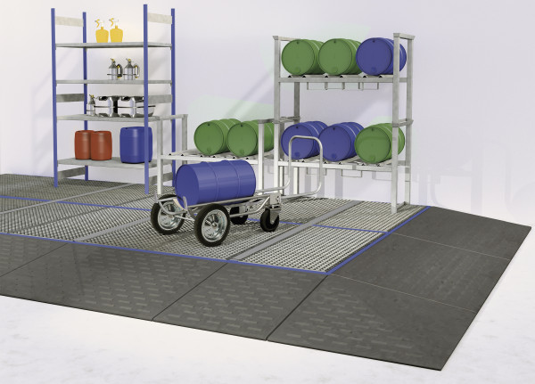 Bodenelement befahrbar PE mit verzinktem Gitterrost 790x790x150, Polyethylen