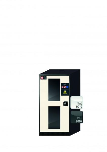 Chemikalienschrank CS-CLASSIC-G Modell CS.110.054.WDFW in reinweiss RAL 9010 mit 3x Tablarauszug AbZ (Stahlblech/Polypropylen)