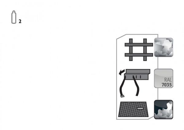 Standardinneneinrichtung Druckgasflaschen für Modell(e): G90 mit Breite 600 mm, Stahlblech verzinkt und pulverbeschichtet