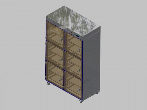 Trockenlagerschrank-ITN-1200-6 mit 2 Schubladen und Regelung der Schrankatmosphäre pro Schrank und Sockelausführung mit Rollen