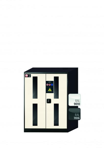 Chemikalienschrank CS-CLASSIC-G Modell CS.110.081.WDFW in reinweiss RAL 9010 mit 2x Tablarauszug AbZ (Stahlblech/Polypropylen)