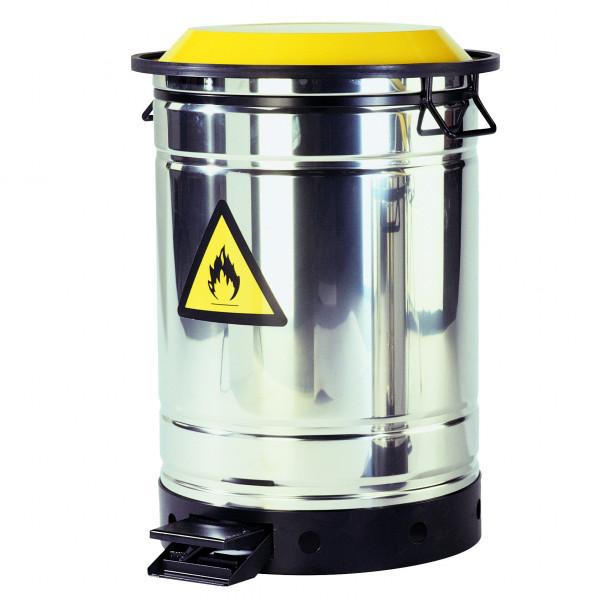 Sammelbehälter für Putzlappen, 50 Liter, Edelstahl, Edelstahl 1.4301 poliert