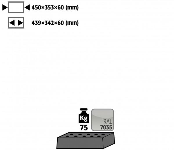 Lochblecheinsatz Standard für Modell(e): UB90 mit Breite 590/1100 T=500 mm, Stahlblech pulverbeschichtet glatt
