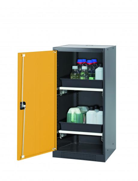 Chemikalienschrank CS-CLASSIC Modell CS.110.054 in sicherheitsgelb RAL 1004 mit 2x Tablarauszug AbZ (Stahlblech/Polypropylen)
