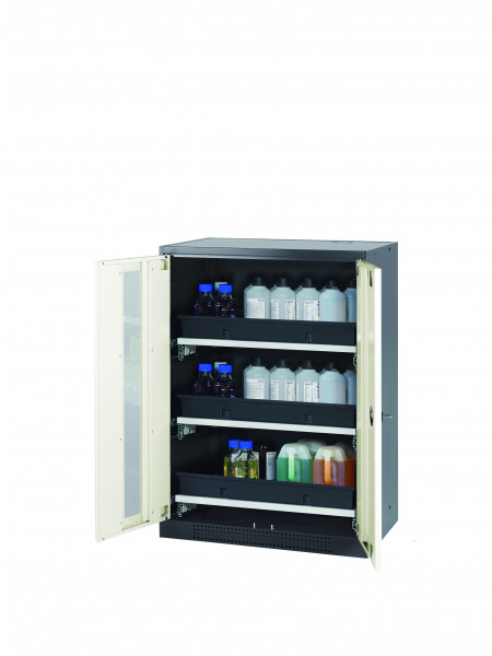 Chemikalienschrank CS-CLASSIC-G Modell CS.110.081.WDFW in reinweiss RAL 9010 mit 3x Tablarauszug AbZ (Stahlblech/Polypropylen)