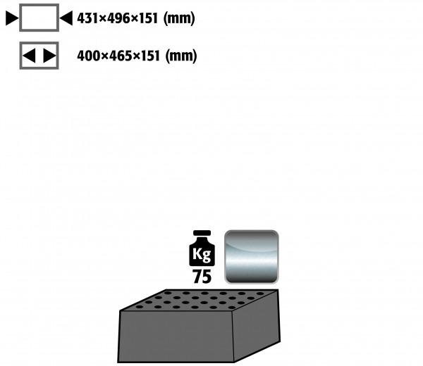 Lochblecheinsatz Standard Höhe = 151 mm für Modell(e): Q90, Q30, S90 mit Breite 600 mm, Edelstahl 1.4016 roh