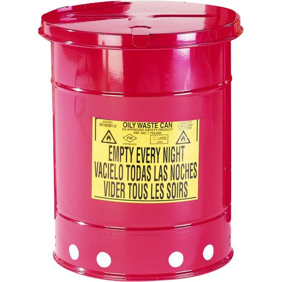 Entsorgungsbehälter, 34 L, rot, Fusspedal, Stahlblech verzinkt und lackiert