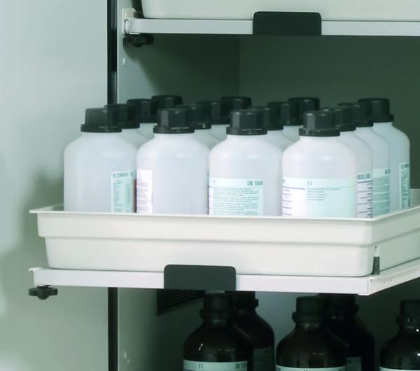 Tablarauszug AbZ mit PP-Wanne (Volumen: 11,00 Liter) für Modell(e): SL mit Breite 600/1200 mm, FP-Platte/Polypropylen melaminharzbeschichtet/roh