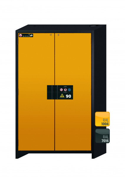 Typ 90 Sicherheitsschrank Q-CLASSIC-90 Modell Q90.195.120 in sicherheitsgelb RAL 1004 mit 3x Auszugswanne Standard (Edelstahl 1.4301)