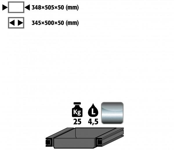 Auszugswanne Standard Türanschlag rechts (Volumen: 4,50 Liter) für Modell(e): Q90, S90 mit Breite 600 mm, Edelstahl 1.4301 roh