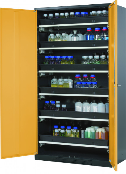Chemikalienschrank CS-CLASSIC Modell CS.195.105 in sicherheitsgelb RAL 1004 mit 6x Tablarauszug AbZ (Stahlblech/Polypropylen)