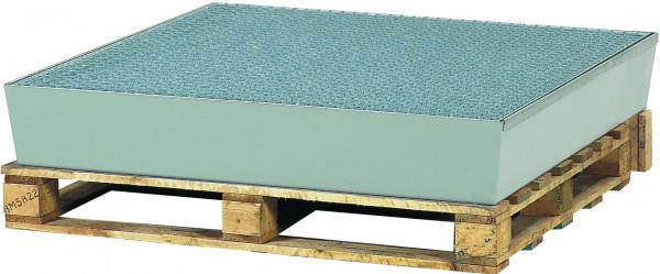 Auffangwanne Stahl mit verzinktem Gitterrost 1210x1240x190, Stahl verzinkt