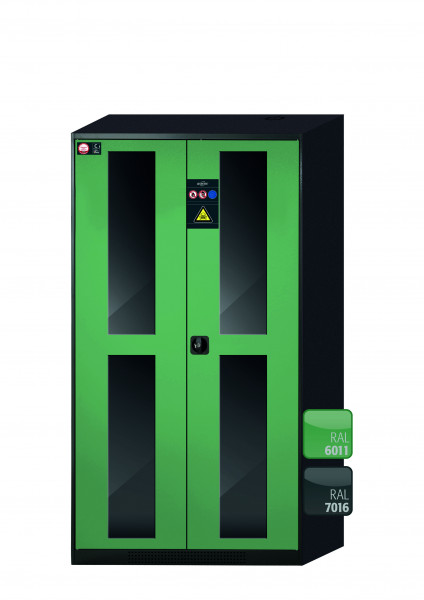 Chemikalienschrank CS-CLASSIC-G Modell CS.195.105.WDFW in resedagrün RAL 6011 mit 6x Tablarauszug AbZ (Stahlblech/Polypropylen)