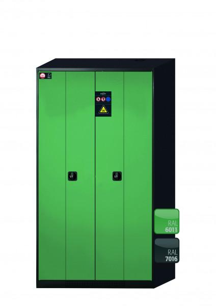 Chemikalienschrank CS-PHOENIX Modell CS.195.105.FD in resedagrün RAL 6011 mit 6x Tablarauszug AbZ (Stahlblech/Polypropylen)