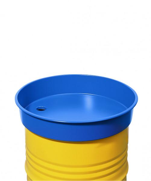 Fasstrichter rund aus Stahl, blau, für 200-Liter-Fässer, 30 L Volumen, Stahl pulverbeschichtet glatt