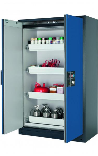 Typ 90 Sicherheitsschrank Q-CLASSIC-90 Modell Q90.195.120 in enzianblau RAL 5010 mit 4x Auszugswanne Standard (Stahlblech)